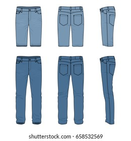 Blank vector templates of men's jeans and shorts. Front, back and side views of denim pants. Clothing set in casual style. Fashion illustration.