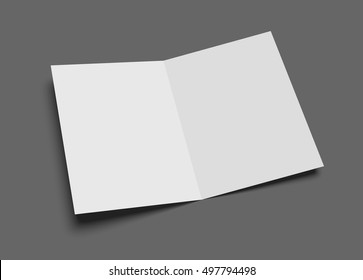 Blank vector two-leaf greeting card or brochure on gray.