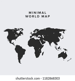 Blank vector world map. Isolated on clean  background. World map vector, isolated on white background. Flat Earth,  map template for web site pattern, anual report, inphographics.