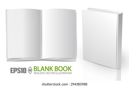 Blank vertical book  cover & blank open magazine template with pages. Vector illustration.
