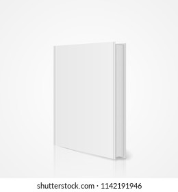 Blank vertical book cover template with pages in front side standing on white surface with shadow and mirror reflection. Perspective view. Vector eps10