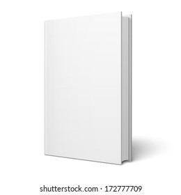 Blank vertical book cover template with pages in front side standing on white surface  Perspective view. Vector illustration.