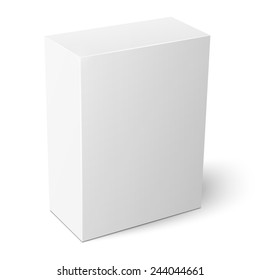 Blank vertical cardboard box template standing on white background Packaging collection. Vector illustration.