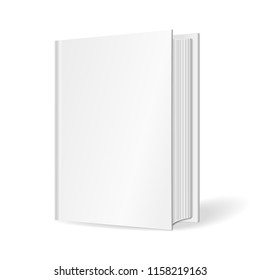 Blank vertical cover of the book. Isolated on white background. 3D Mockup to display your design. Vector illustration