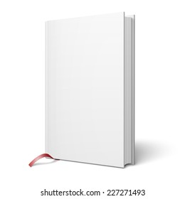 Blank vertical hardcover book template with pages in front side and red bookmark standing on white surface  Perspective view. Vector illustration.