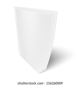 Blank vertical magazine template on white background with soft shadows. Vector illustration. EPS10.