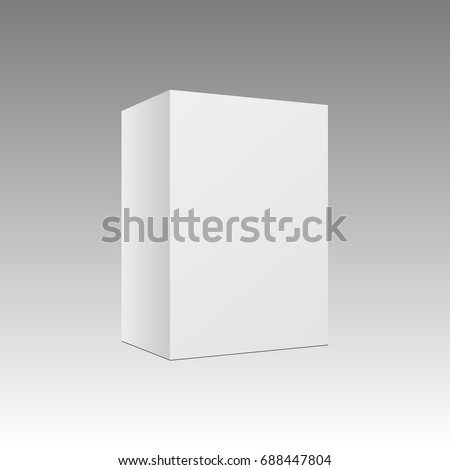 Blank Vertical Paper Box Template Standing On White Background Vector Illustration