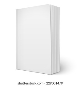 Blank vertical softcover book template with spreading pages standing on white surface  Perspective view. Vector illustration.