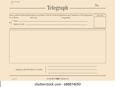 Blank vintage telegram form. Flat vector.