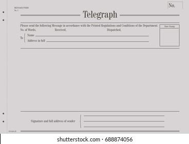 Blank vintage telegram form. Flat vector.