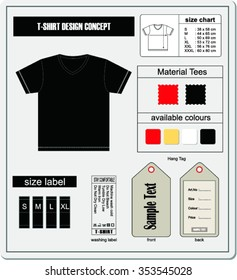 Blank v-neck t-shirt concept.