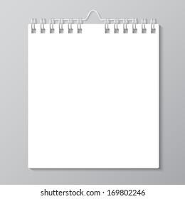 Blank wall calendar with spring. Vector