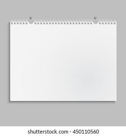 Blank wall calendar with spring. Vector illustration
