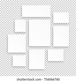 Blank white 3d paper canvas or photo frames isolated on transparent background. Vector illustration