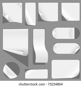 Blank white advertising coupon cut. vector illustration