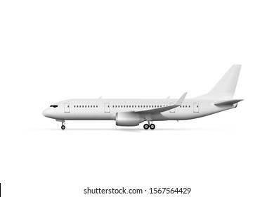 Blank White Airplane Or Airliner Side View. EPS10 Vector