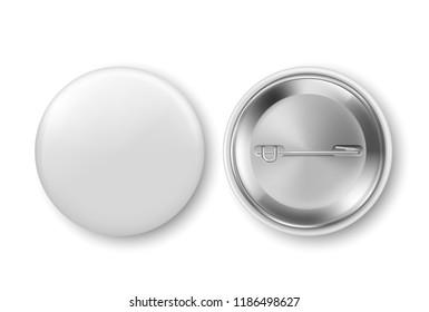 Blank white badge, pin. Vector illustration