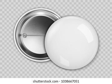 Blank white badge, vector realistic illustration isolated on transparent background