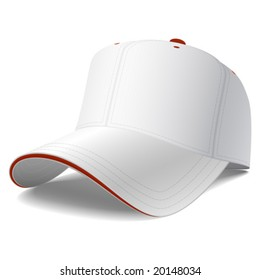Blank white baseball cap. Vector.