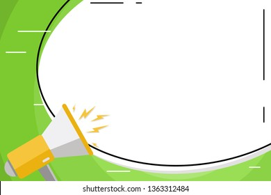 Blank White Big Oval Shape Sticker Style and Megaphone with Volume Icon. Loudhailer Shouting and Empty Space Round Label Form. Business Concept for Announcements and Promotion.