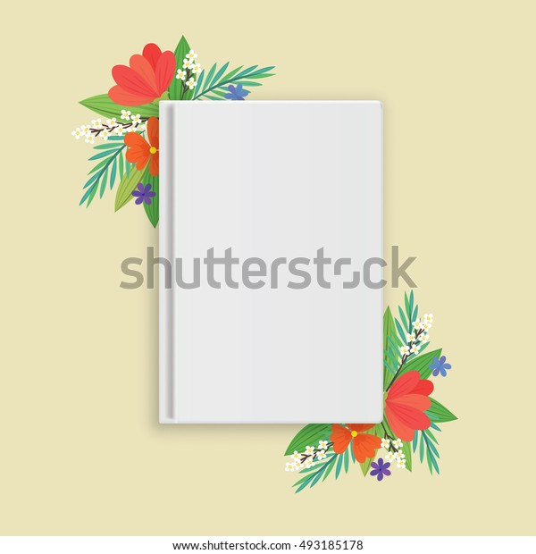a blank white book with flowers in flat style