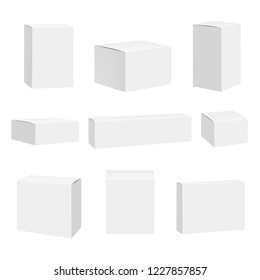 Blank white box. Packages container quadrate boxes detailed realistic vector mockup