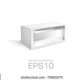 Blank white cardboard box for toys transparent plastic window.  Vector illustration product package template