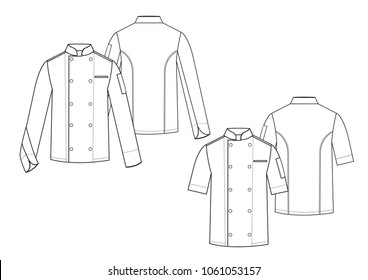 Blank white Chef coat template,front and back views.Vector illustration