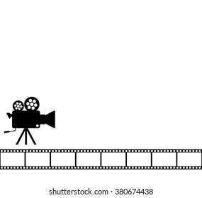Blank white cinema background, Old camera 35 mm film roll on wallpaper with aged video projector. Movie reel and vintage cam on tripod, black silhouette design. vector art image illustration, isolated