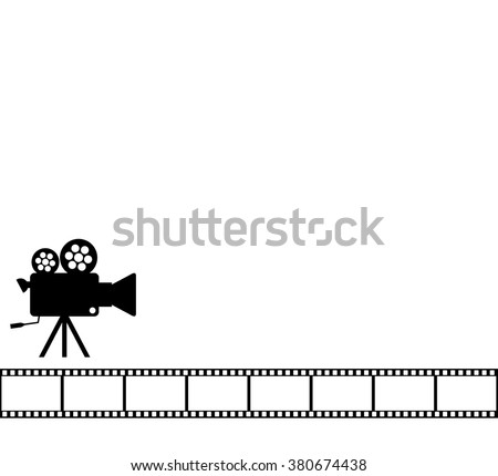 Blank White Cinema Background Old Camera Stock Vector Royalty Free