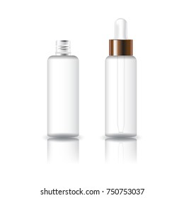 Blank white clear cosmetic round bottle with white dropper lid for beauty product packaging. Isolated on white background with reflection shadow. Ready to use for package design. Vector illustration.