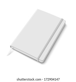 Blank white copybook template with elastic band and bookmark. Vector illustration.