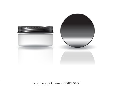 Blank white cosmetic round jar with black lid for beauty product packaging. Isolated on white background with reflection shadow. Ready to use for package design. Vector illustration.