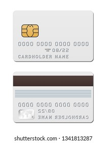 Blank white credit card template from both sides. Vector mockup of credit card with EMV chip isolated on white background