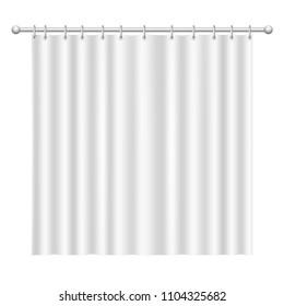Blank white  curtain on white background. Photorealistic isolated vector illustration.