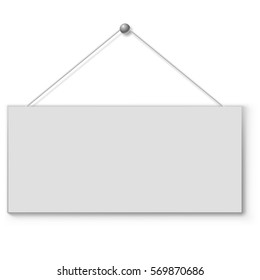 Blank white door plate hanging on the string. Vector illustration.
