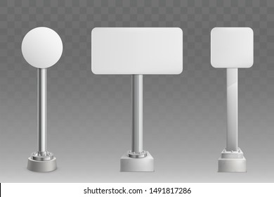 Blank white, empty, round, square and rectangular shape road sign plate, ad banner or billboard on bolted to concrete base metallic stand front view, isolated 3d realistic vector illustration set