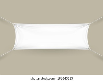 Blank white fabric rectangular horizontal banner with ropes attached to each corner pulling it tight against a grey wall with folds and creases  copyspace for your text