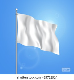 Blank white flying flag on a clear sky for designers. Vector EPS 10.