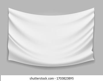 Blank weißer Faltenbanner aus gefaltetem Gewebe. Stoffgewebe mit Vektorillustration, Stoffgewebe einzeln, weißes Stoffbild