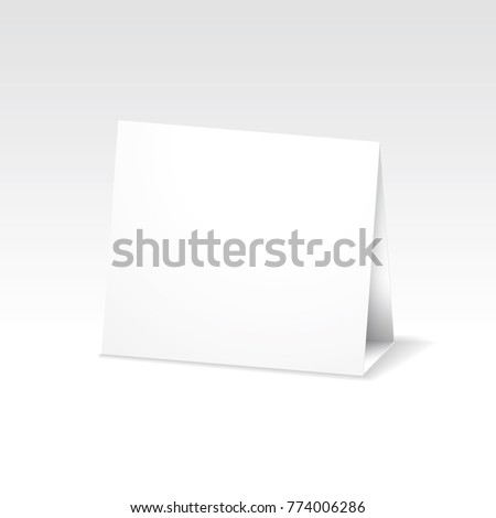 blank white folded paper stand table holder card 3d vector design template with triangle folded