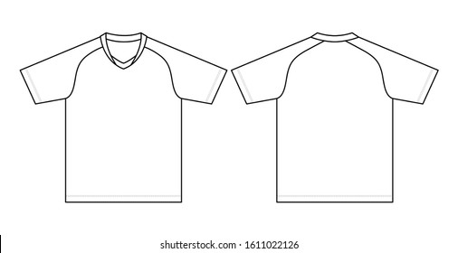 Blank White Football Shirt Vector For Template.Front And Back Views