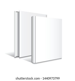 Blank white front-back standing hardcover book mockup template. Isolated on white background with shadow. Ready to use for your business. Vector illustration.