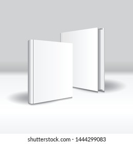 Blank white front-back standing hardcover book mockup template. Isolated on gray background with shadow. Ready to use for your business. Vector illustration.