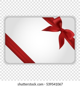 Blank white gift card template with red ribbon and a bow, vector illustration.