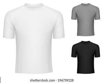 Blank white, grey and black t-shirts.