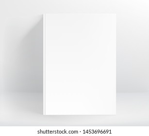 Blank white hard cover book vector mockup. A4 format