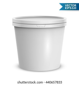 Blank white ice cream round container isolated on white background vector template. Blank yogurt or ice cream plastic bucket.