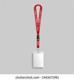 Blank white identity card lanyard hanging on red neck strap with text template, realistic mockup of name and photo identification badge isolated on grey background, vector illustration