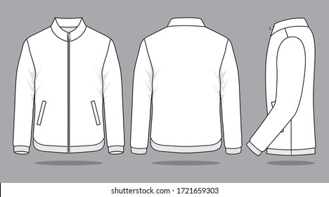 Blank White Jacket Vector For Template.Front, Back And Side Views.